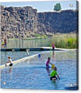 Children Playing In Dierkes Lake In Snake River Above Shoshone Falls Near Twin Falls-idaho  Acrylic Print