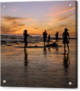 Children Playing On The Beach At Sunset Acrylic Print