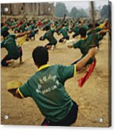 Children Practice Kung Fu In A Field Acrylic Print