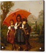 Children Under A Red Umbrella Acrylic Print