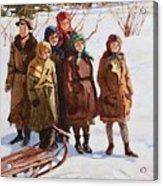 Children With A Sled Nikolai Petrovich Bogdanov-belsky Acrylic Print