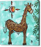 Childrens Nursery Art Original Giraffe Painting Playful By Madart Acrylic Print