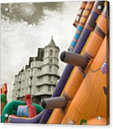 Childrens Play Areas Contrast With The Victorian Elegance Of The Grand Hotel In Llandudno Wales Uk Acrylic Print