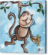 Childrens Whimsical Nursery Art Original Monkey Painting Monkey Buttons By Madart Acrylic Print