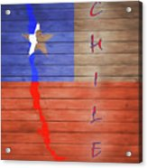 Chile Rustic Map On Wood Acrylic Print