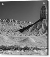 Chimney Rock In Black And White - Towaoc Colorado Acrylic Print