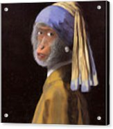 Chimp With A Pearl Earring Acrylic Print