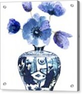 China Blue Vase  With Poppy Flower Acrylic Print