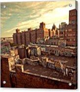 Chinatown Rooftop Graffiti And The Brooklyn Bridge - New York City Acrylic Print