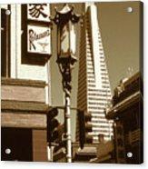 San Francisco Chinatown And Pyramid Acrylic Print