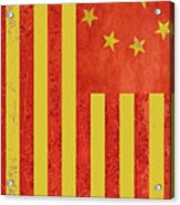 Chinese American Flag Vertical Acrylic Print
