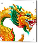 Chinese Beautiful Dragon Isolated On White Background Acrylic Print