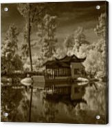 Chinese Botanical Garden In California With Koi Fish In Sepia Tone Acrylic Print