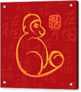 Chinese New Year Of The Monkey Gold Brush On Red Illustration Acrylic Print