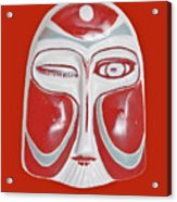 Chinese Porcelain Mask Red Acrylic Print
