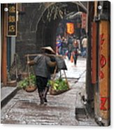 Chinese Woman Carrying Vegetables Acrylic Print