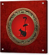 Chinese Zodiac - Year Of The Rat On Red Velvet Acrylic Print