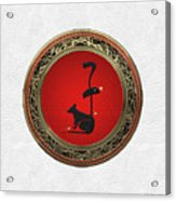 Chinese Zodiac - Year Of The Rat On White Leather Acrylic Print