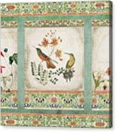 Triptych - Chinoiserie Vintage Hummingbirds N Flowers Acrylic Print