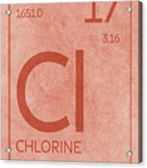 Chlorine Element Symbol Periodic Table Series 017 Acrylic Print