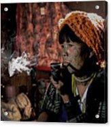 Cho Chin Woman Smoking  Acrylic Print