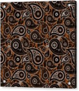 Chocolate Brown Paisley Design Acrylic Print