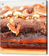 Chocolate Brownie With Nuts Dessert Acrylic Print