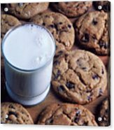 Chocolate Chip Cookies And Glass Of Milk Acrylic Print
