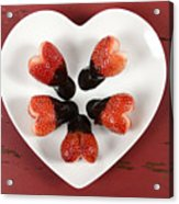 Chocolate Dipped Heart Shaped Strawberries On Heart Shape White Plate Acrylic Print
