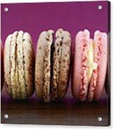 Chocolate Strawberry And Vanilla Macaroons. Acrylic Print