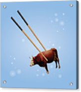 Chopsticks Cow Blue Stars Acrylic Print