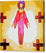Christ And Crosses Acrylic Print