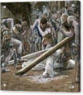 Christ Falls Beneath The Cross Acrylic Print by Tissot