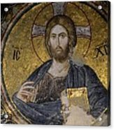 Christ Holds Bible In Mosaic At Chora Church Istanbul Turkey Acrylic Print