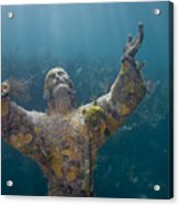 Christ Of The Abyss Statue On Dry Rocks Reef In Key Largo Florida Acrylic Print