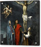 Christ On The Cross With Saint John And Mary Magdalene Acrylic Print