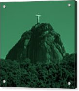 Christ The Redeemer In Green Sky Acrylic Print