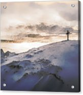 Christian Cross On Mountain Acrylic Print