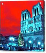Christmas At Notre Dame Pop Art Acrylic Print