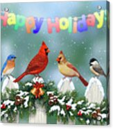 Christmas Birds And Garland Acrylic Print by Crista Forest