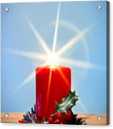 Christmas Candle With Starburst And Holly. Acrylic Print