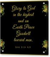 Christmas Card With Scripture - Luke 2 14 Acrylic Print