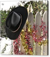 Christmas Cowboy Hat On Fence - Merry Christmas  Acrylic Print