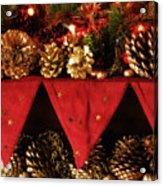 Christmas Decorations Of Garlands And Pine Cones Acrylic Print