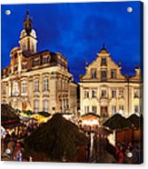 Christmas Fair In Front Of Town Hall Acrylic Print