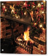 Christmas Fireplace Acrylic Print by Andy Smy