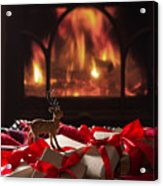 Christmas Gifts By The Fireplace Acrylic Print