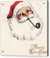 Christmas Greetings 1229 - Vintage Christmas Cards - Santa Claus With Pipe Acrylic Print