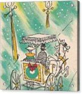 Christmas Illustration 1218 - Vintage Christmas Cards - Horse Drawn Carriage Acrylic Print