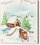 Christmas Illustration 1226 - Vintage Christmas Cards - Horse Drawn Carriage Acrylic Print